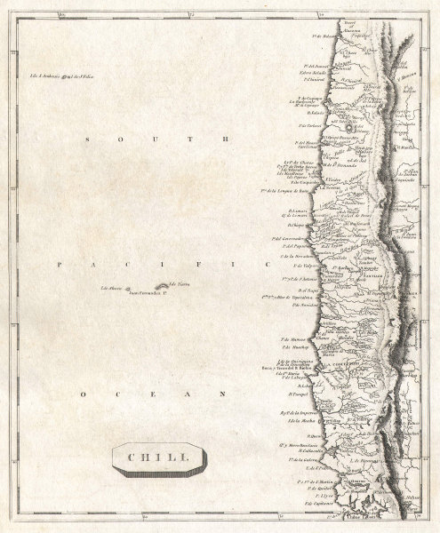 Chili by Arrowsmith & Lewis. Chile 1812 old antique vintage map plan chart