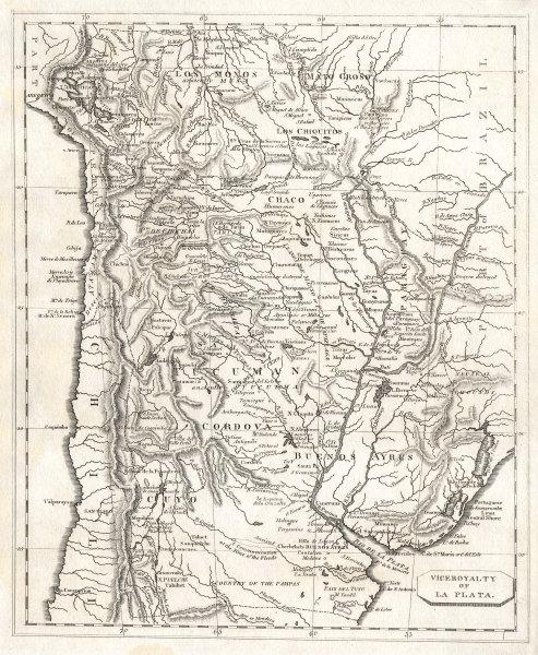 Viceroyalty of La Plata. Arrowsmith & Lewis. Argentina Paraguay Uruguay 1812 map