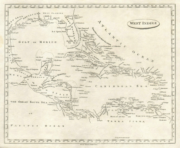 West Indies by Arrowsmith & Lewis. Caribbean & Gulf of Mexico 1812 old map