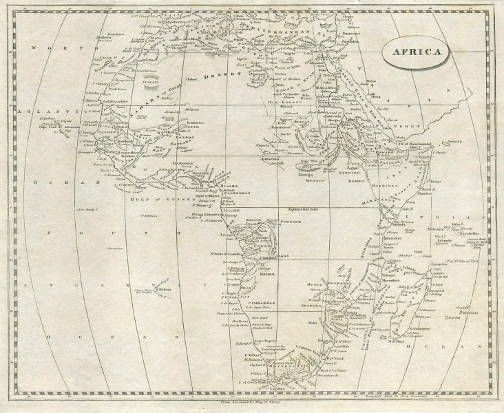 Africa by Arrowsmith & Lewis 1812 old antique vintage map plan chart
