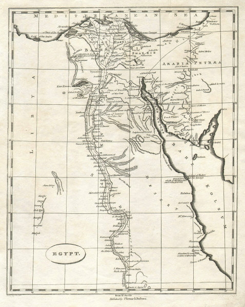 Egypt by Arrowsmith & Lewis 1812 old antique vintage map plan chart