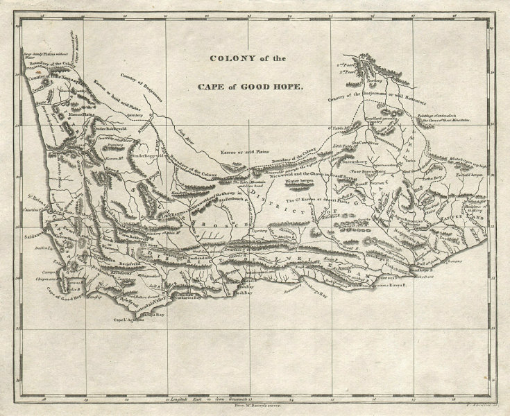 Colony of the Cape of Good Hope by Arrowsmith & Lewis. South Africa 1812 map