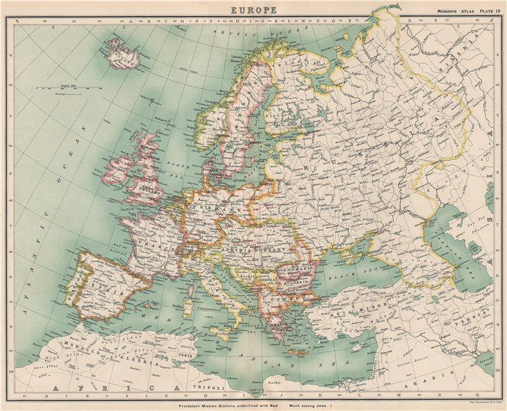 Associate Product EUROPE. Protestant Mission stations & work among Jews 1911 old antique map