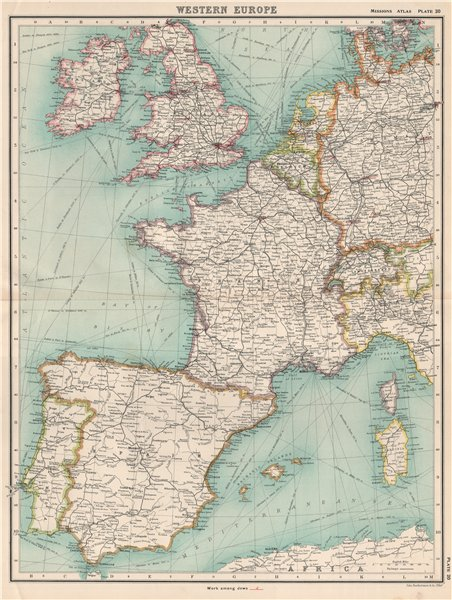 Associate Product WESTERN EUROPE. Protestant Missionary work among Jews in Germany NL UK 1911 map