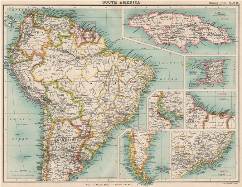 SOUTH AMERICA PROTESTANT MISSIONS. Jamaica Trinidad Br. Guiana Brazil 1911 map