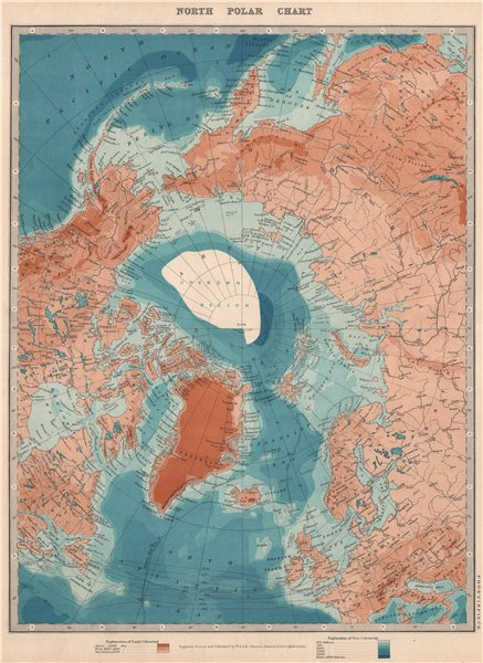 Associate Product ARCTIC. Show's Peary claim to have reached North Pole. JOHNSTON 1912 old map