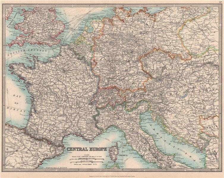 CENTRAL EUROPE. France w/o Alsace Lorraine. Austria-Hungary . JOHNSTON 1912 map