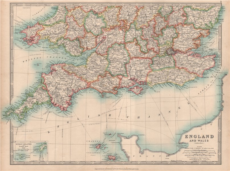 Associate Product SOUTHERN ENGLAND & WALES. Shows Worcestershire enclaves. JOHNSTON 1912 old map