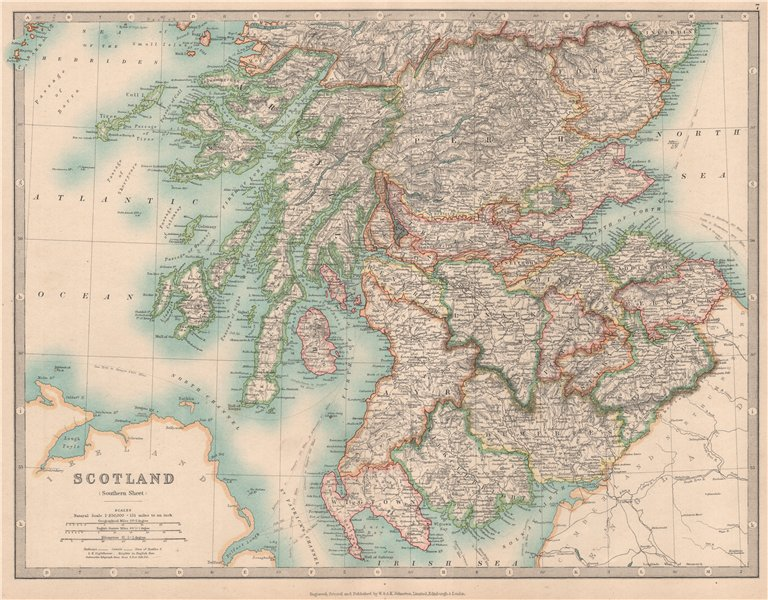 Associate Product SOUTHERN SCOTLAND showing battlefields and dates. JOHNSTON 1912 old map