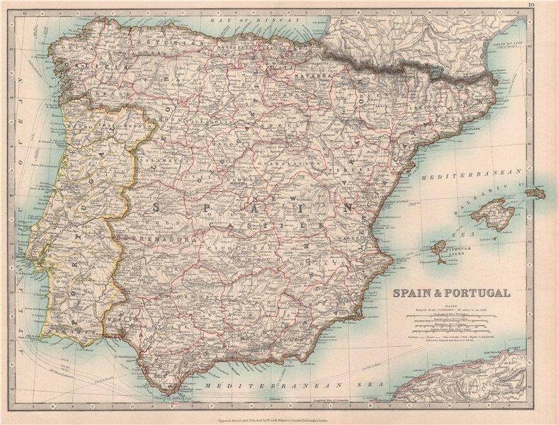 Associate Product SPAIN & PORTUGAL showing Napoleonic battlefields & dates. JOHNSTON 1912 map