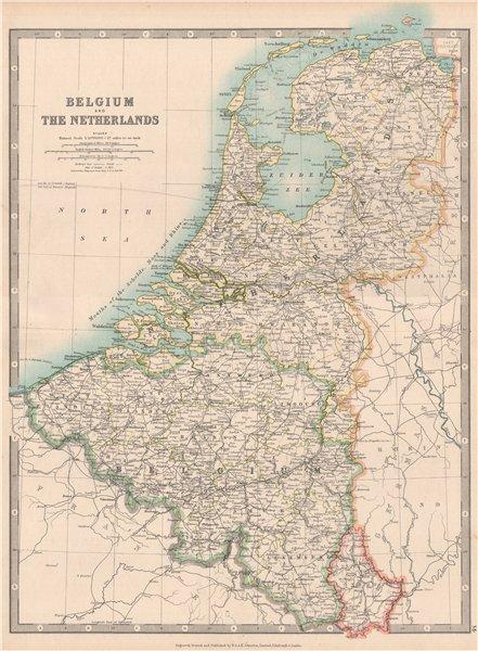 Associate Product BENELUX. Shows 1815 Battlefields. Belgium & Netherlands. JOHNSTON 1912 old map