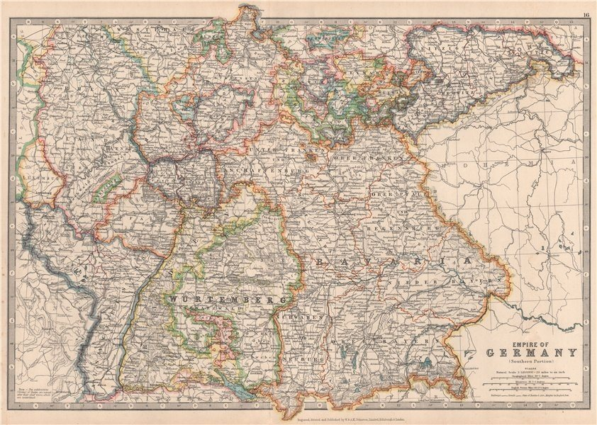 Associate Product GERMAN EMPIRE SOUTH showing important battlefield & dates. JOHNSTON 1912 map