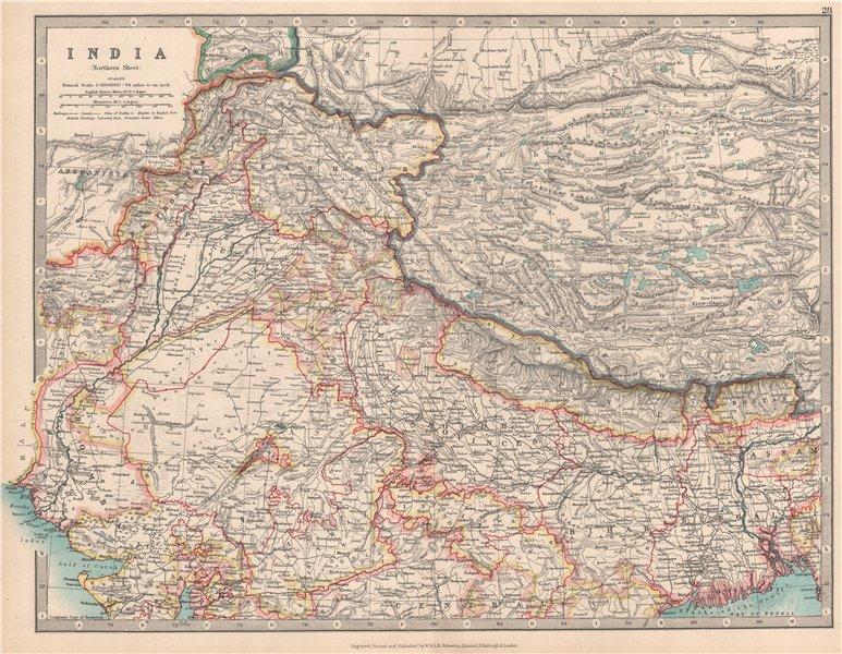 NORTH BRITISH INDIA showing battlefields & dates. Nepal Tibet. JOHNSTON 1912 map