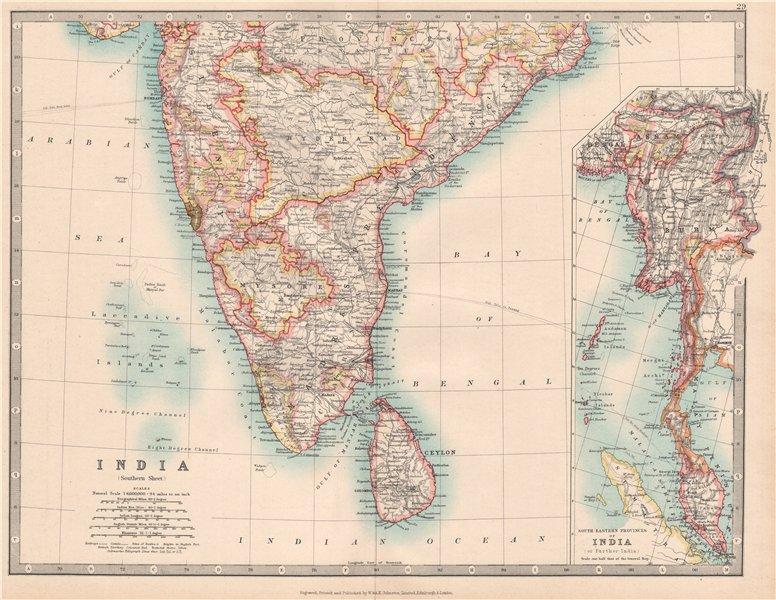 Associate Product SOUTH BRITISH INDIA & BURMA with battlefields & dates. Ceylon. JOHNSTON 1912 map