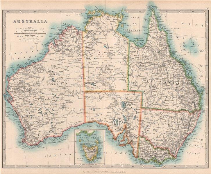 Associate Product AUSTRALIA showing explorers' routes & goldfields. JOHNSTON 1912 map
