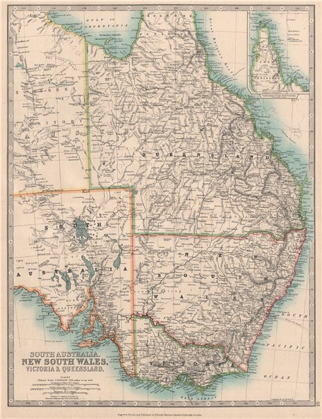 EASTERN AUSTRALIA. Queensland, New South Wales & Victoria. JOHNSTON 1912 map