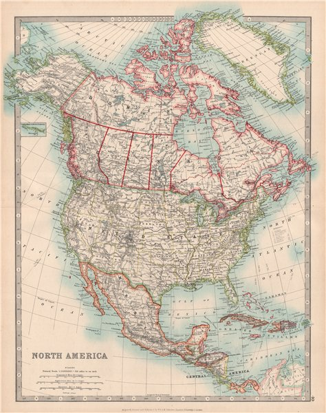Details about NORTH AMERICA. United States Canada Mexico. Railways.  JOHNSTON 1912 old map