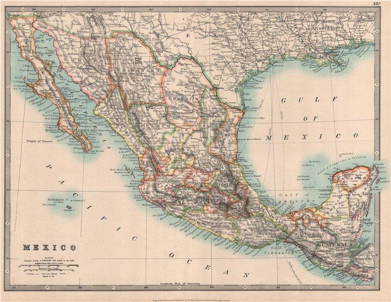 MEXICO showing states. Guatemala & British Honduras. JOHNSTON 1912 old map