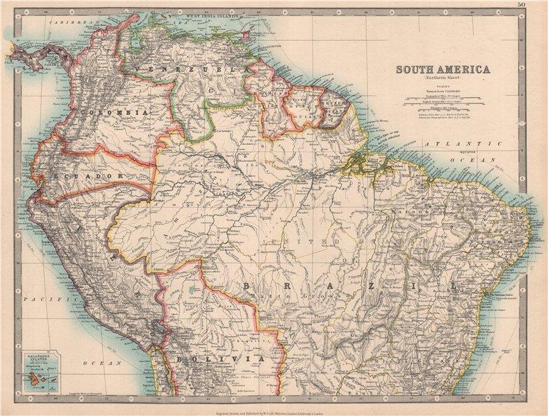 Associate Product SOUTH AMERICA NORTH. Peru/Ecuador borders as pre 1941 war. JOHNSTON 1912 map