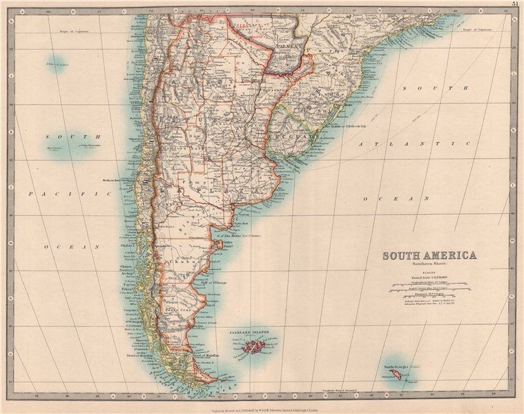 Associate Product SOUTH AMERICA SOUTH SHEET. Shows Bolivia claim on Gran Chaco. JOHNSTON 1912 map