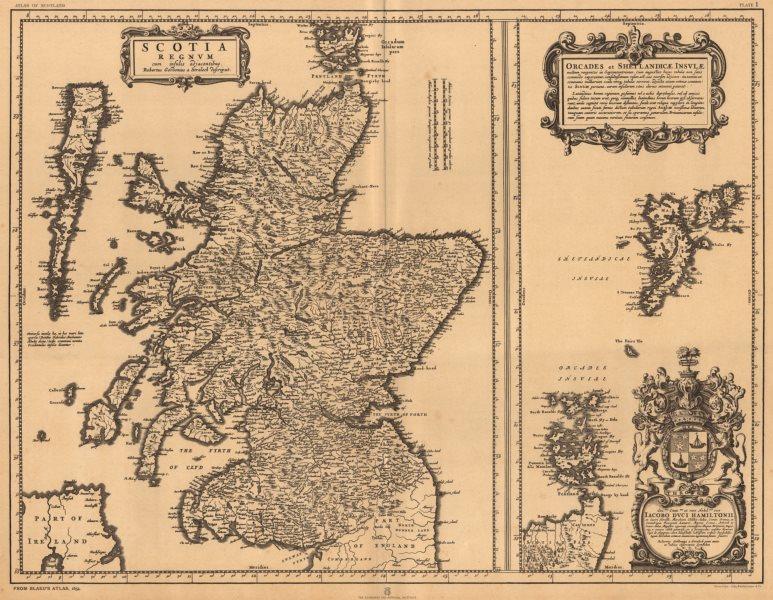 Associate Product Scotia Regnvm with Orcades et Shetlandicae Insvlae. Scotland BLAEU 1654 1912 map