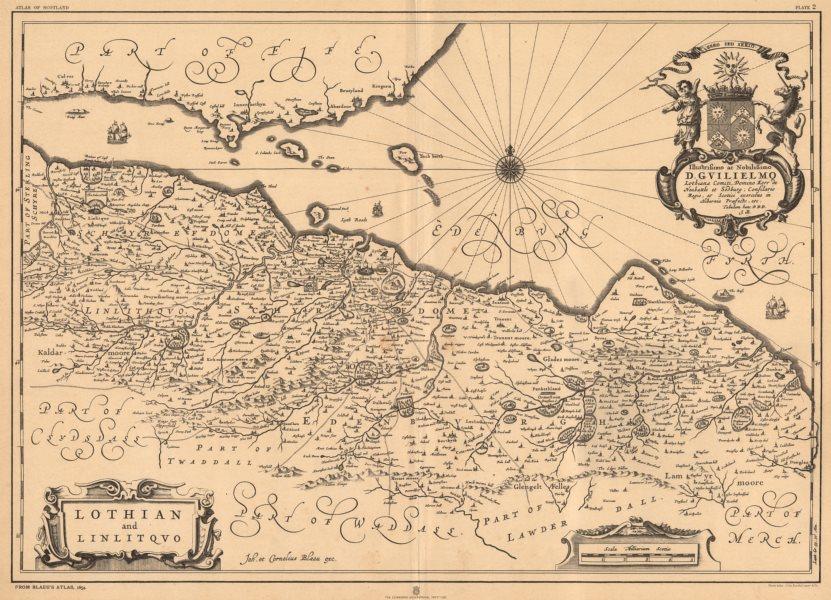 Associate Product 'Lothian and Linlitquo'. Lothian & Linlithgow. BLAEU 1654 facsimile 1912 map