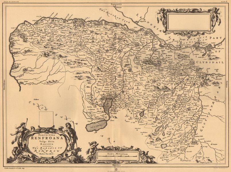 Associate Product Praefectura Renfroana Vulgo dicta Baronia'. Renfrew. BLAEU 1654 copy 1912 map