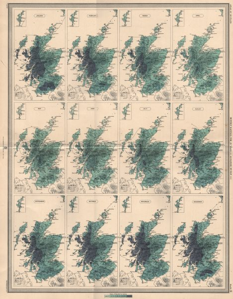 Associate Product SCOTLAND average monthly rainfall for 25 years by Alexander Buchan 1912 map