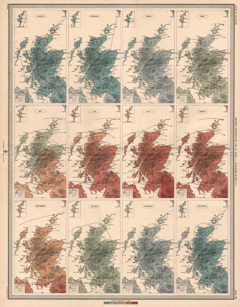 Associate Product SCOTLAND average monthly temperature for 25 years by Alexander Buchan 1912 map