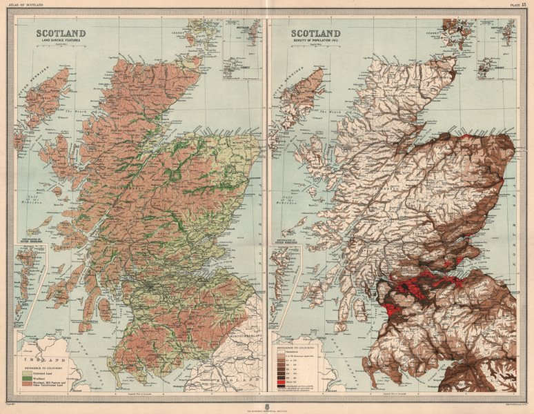 Associate Product SCOTLAND. Land surface features moorland &c Population density 1911 1912 map