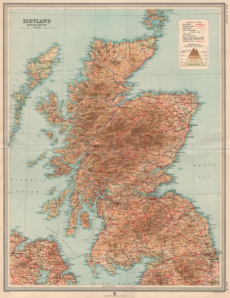 Associate Product Antique Scotland Motoring Road map showing garages, hotels & inns. LARGE 1912