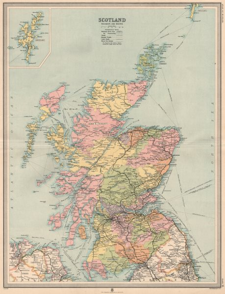 Associate Product Scotland Railways, coach roads, canals & bus routes. Counties. LARGE 1912 map