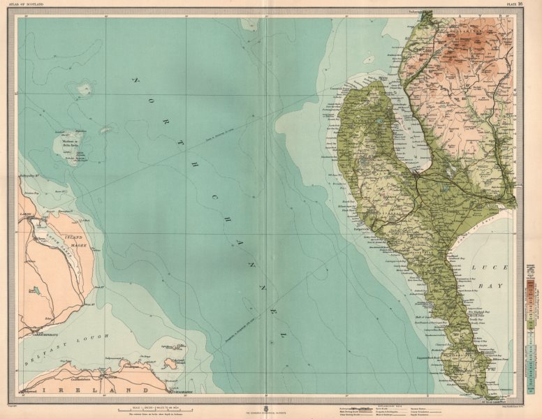 Associate Product GALLOWAY. The Rhinns of Galloway. Wigtownshire. Stranraer. Luce Bay 1912 map