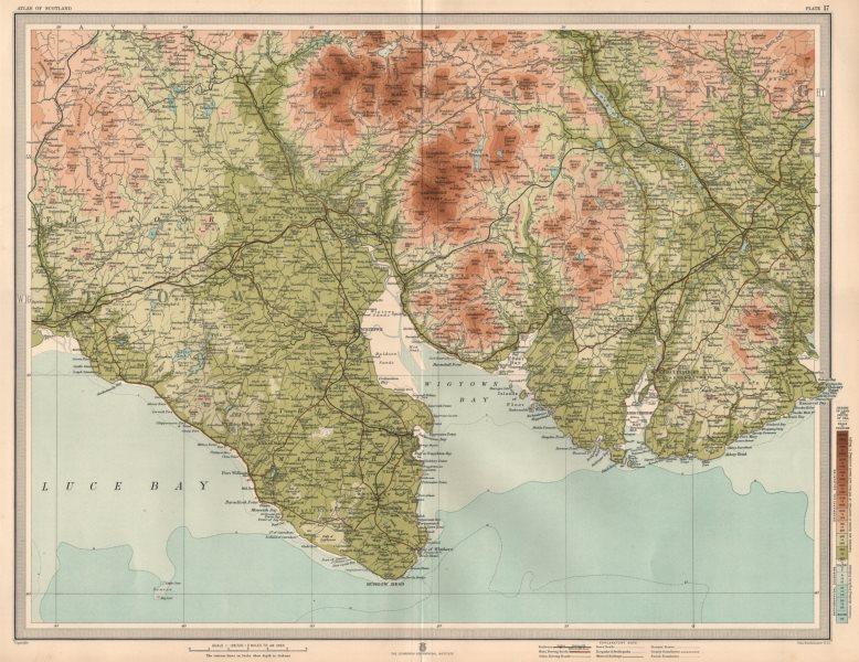 Associate Product WIGTOWN & KIRKUDBRIGHT Rhinns of Kells Bladnoch Whisky Distillery LARGE 1912 map