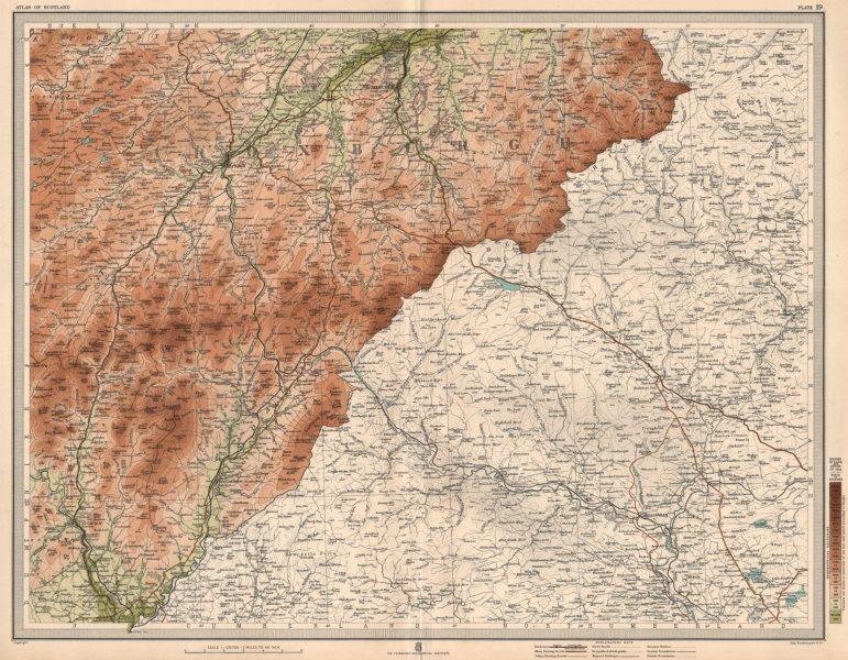 Associate Product TEVIOTDALE Roxburghshire Jedburgh Hawick Langholm Northumberland. LARGE 1912 map