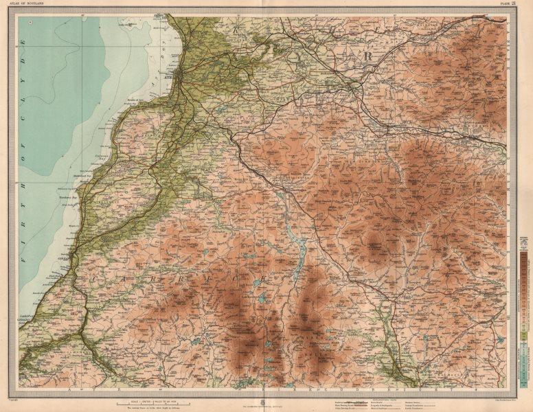 AYR Carrick Maybole Turnberry Girvan Rhinns of Kells Muirkirk. LARGE 1912 map