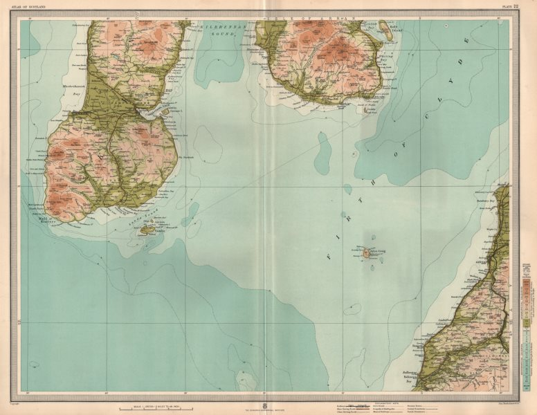 Associate Product FIRTH OF CYLDE Kintyre Girvan Campbeltown South Arran Ballantrae. LARGE 1912 map