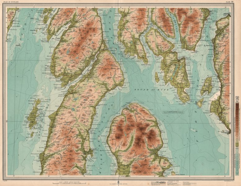 Associate Product NORTH KINTYRE & ARRAN Bute Rothesay Firth of Clyde Dunoon Kirn Knapdale 1912 map