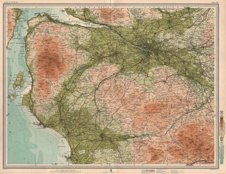 Associate Product GLASGOW ENVIRONS Renfrewshire Ayrshire Troon Greenock Kilmarnock. LARGE 1912 map