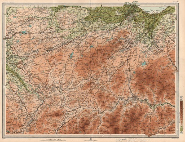 Associate Product MIDLOTHIAN Peebleshire Edinburgh Pentland Hills Linlithgow Selkirk 1912 map