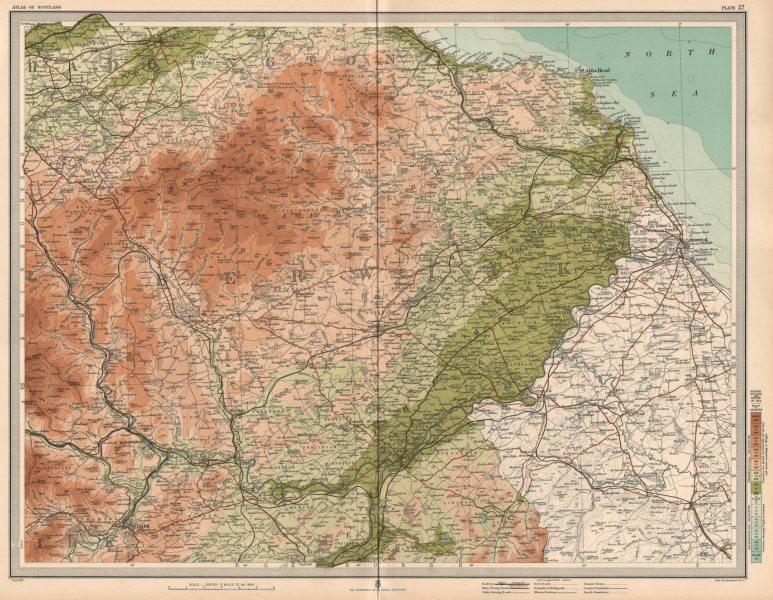 Associate Product BERWICKSHIRE Lammermiur Hills Haddingtonshire Kelso Tweed Merse. LARGE 1912 map
