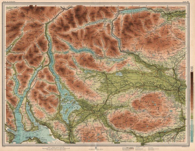 Associate Product LOCH LOMOND & THE TROSSACHS. Campsie Fells Stirling Loch Long. LARGE 1912 map