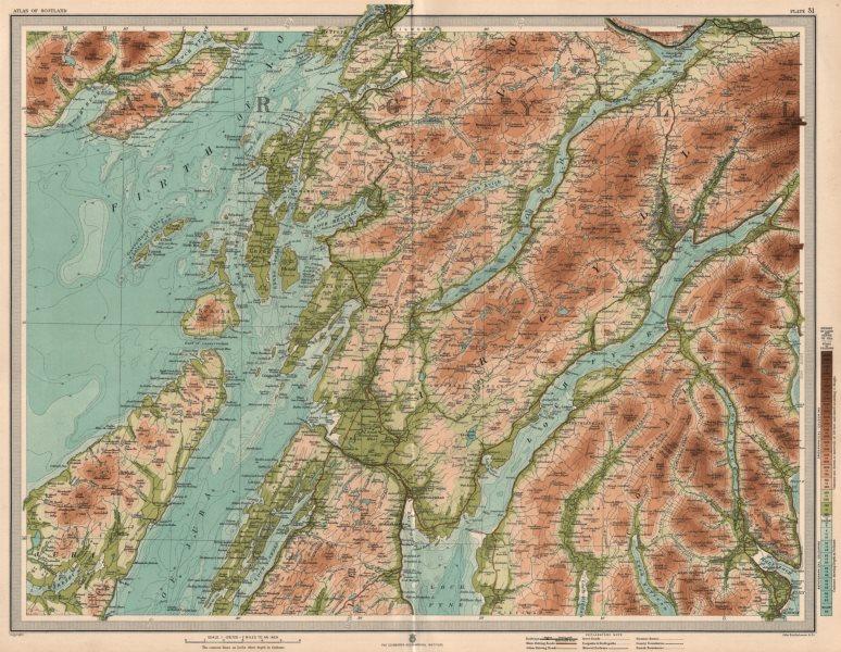 Associate Product ARGYLE.  Dalmally Loch Fyne North Jura Firth of Lorne Loch Awe. LARGE 1912 map
