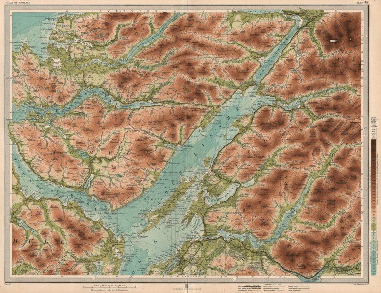 Associate Product LOCH LINNHE Oban Sound of Mull Morven Appin Lorne Etive Sunart. LARGE 1912 map