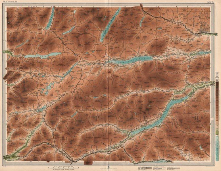 Associate Product PERTHSHIRE. Loch Tay Loch Rannoch Glen Lyon Dalmally Aberfeldy. LARGE 1912 map