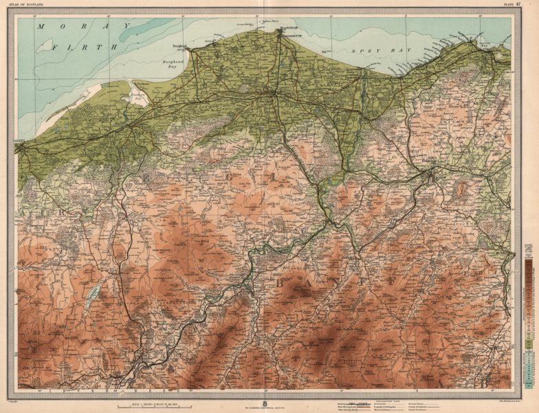 Associate Product SPEYSIDE WHISKY REGION. Elgin Rothes Grantown Keith Dufftown. LARGE 1912 map