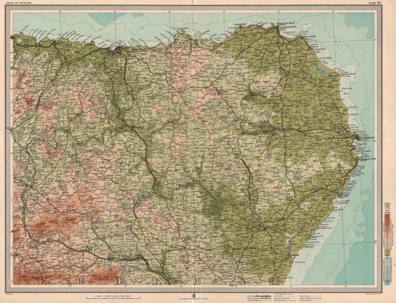 Associate Product ABERDEENSHIRE Banff Peterhead Fraserburgh Buchan Turriff. LARGE 1912 old map