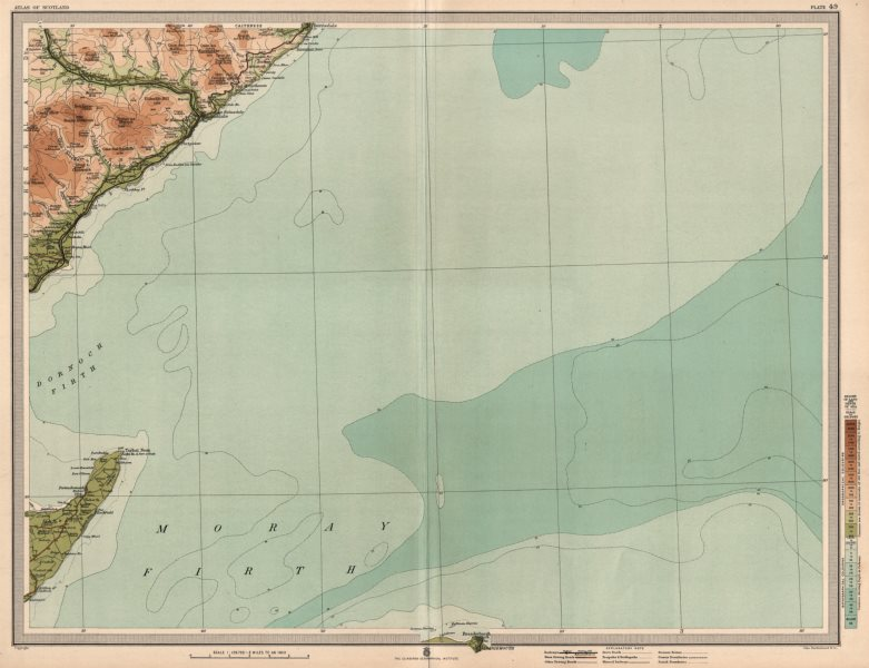Associate Product MORAY FIRTH Brora Clynelish Whisky Distilleries Dornoch Firth. LARGE 1912 map