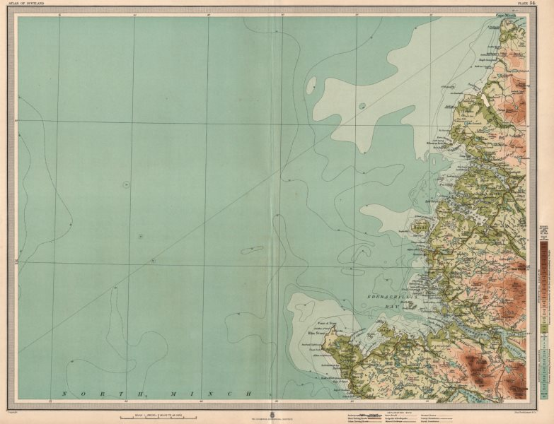 Associate Product SUTHERLAND COAST Eddrachillis Bay Rhu Stoer Cape Wrath Scotland. LARGE 1912 map