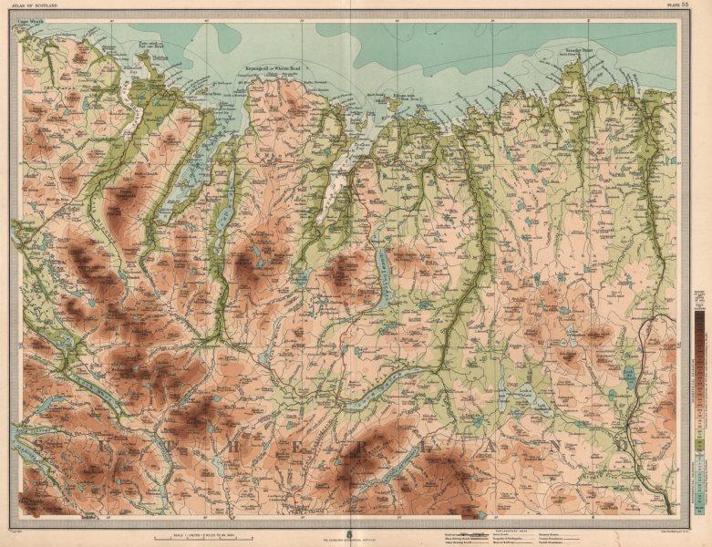Associate Product SUTHERLAND COAST Strathy Head Loch Eriball Durness Scotland. LARGE 1912 map